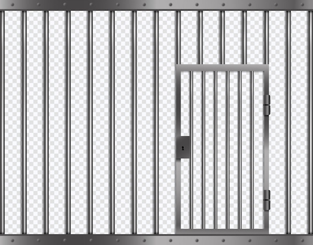 Barras de prisão com porta na prisão