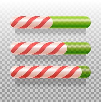 Barras de progresso do bastão de doces