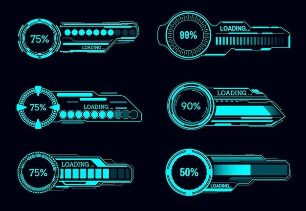 Barras de progresso futurísticas do hud, interface sci fi