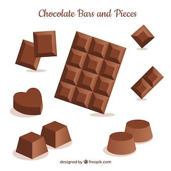 Barras e pedaços de chocolate