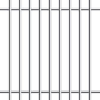Barras ou hastes de metal da prisão isoladas no fundo branco. cadeia de vedação realista. caminho para a liberdade. conceito criminal ou sentença. ilustração.