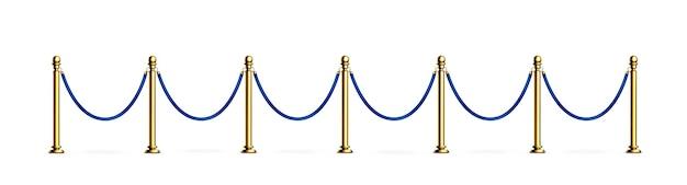 Barreira de corda azul com viga de veludo com postes de ouro para entrada