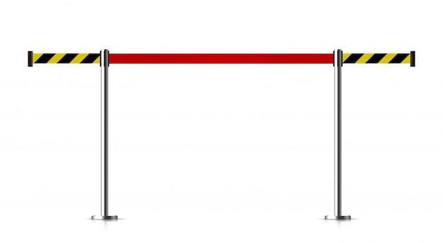 Barreira de metal com um cinto para controlar.