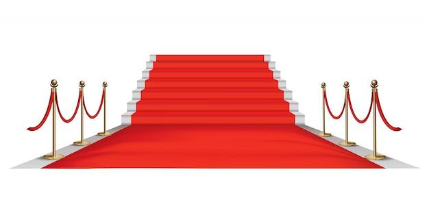 Barreiras douradas no tapete vermelho. evento exclusivo. tapete vermelho com escadas, cordas vermelhas e escoras douradas