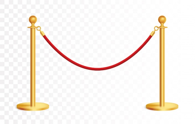Barricada dourada realista com corda vermelha, barreira de corda dourada