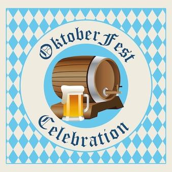 Barril de celebração de oktoberfest feliz com design de ilustração vetorial de selo de frasco de cerveja