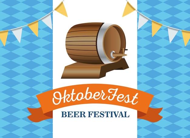 Barril de celebração feliz oktoberfest com guirlandas e design de ilustração vetorial de quadro de fita
