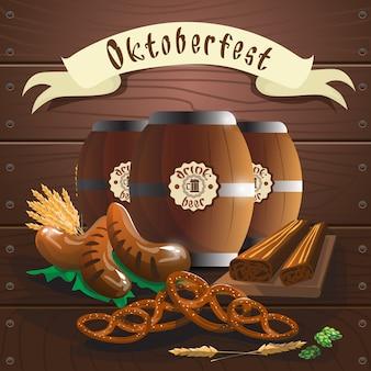 Barril de cerveja com bandeira de festival de oktoberfest de salsicha pretzel