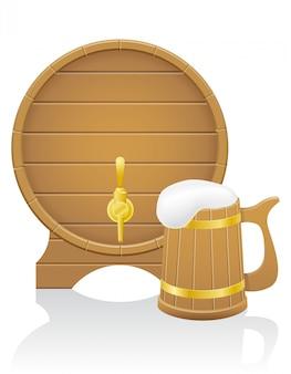 Barril de cerveja de madeira e ilustração vetorial de caneca