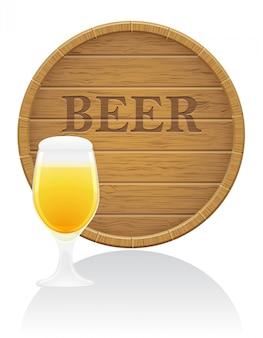 Barril de cerveja de madeira e ilustração vetorial de vidro