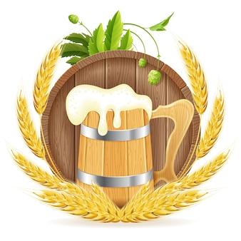 Barril de cerveja e caneca de madeira