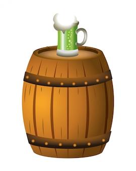 Barril de cerveja verde