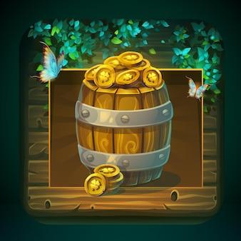 Barril de ícone com moedas de ouro para interface de usuário do jogo.
