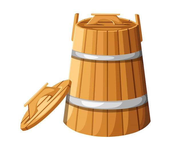 Barril de madeira com alças e tampa para ilustração de hebs na página do site e no aplicativo móvel com fundo branco