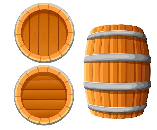 Barril de madeira com bandas de metal. barril de vinho ou cerveja. ilustração em fundo branco