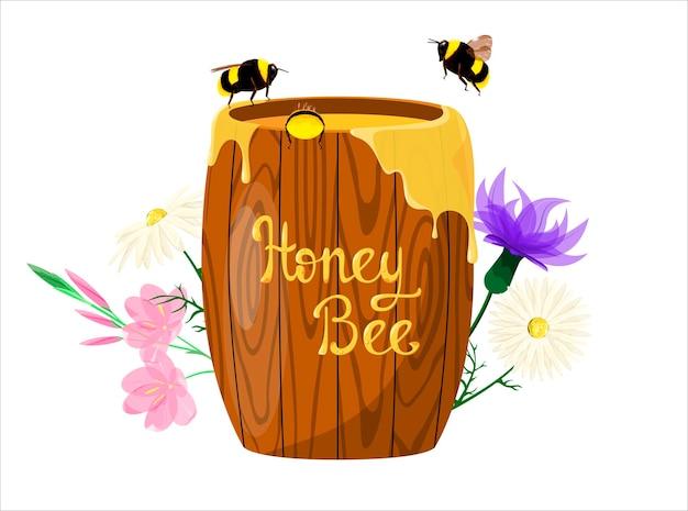Barril de madeira com mel e abelhas em um fundo de flores