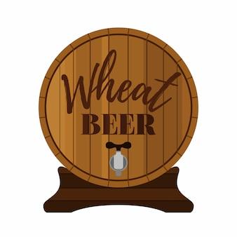 Barril de madeira com rótulo de cerveja de gravura