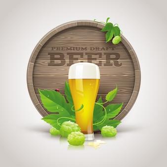 Barril de madeira, copo de cerveja, lúpulo maduro e folhas - ilustração