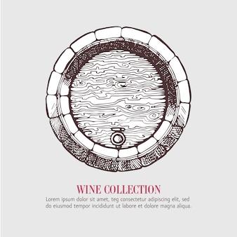 Barril de madeira de vinho ou cerveja.