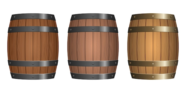 Barril de madeira design ilustração isolado no fundo branco