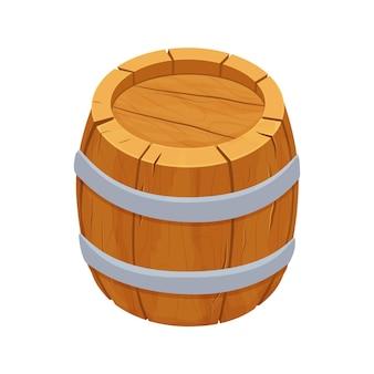 Barril de madeira detalhado texturizado em estilo cartoon isolado