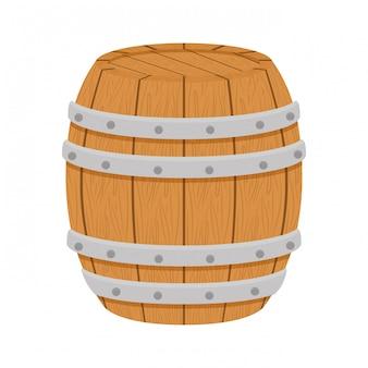 Barril de madeira ícone imagem design