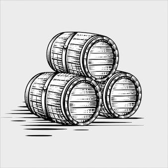 Barril de madeira mão desenhada gravura ilustrações de estilo