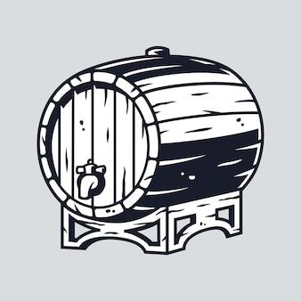 Barril de madeira para cerveja, vinho e uísque para menu de bar