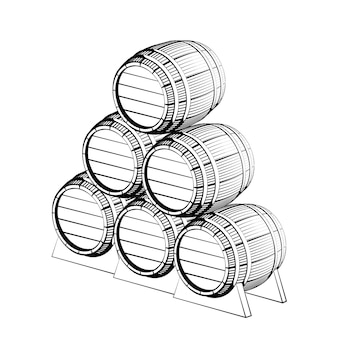 Barril de madeira preta com torneira isolada no branco
