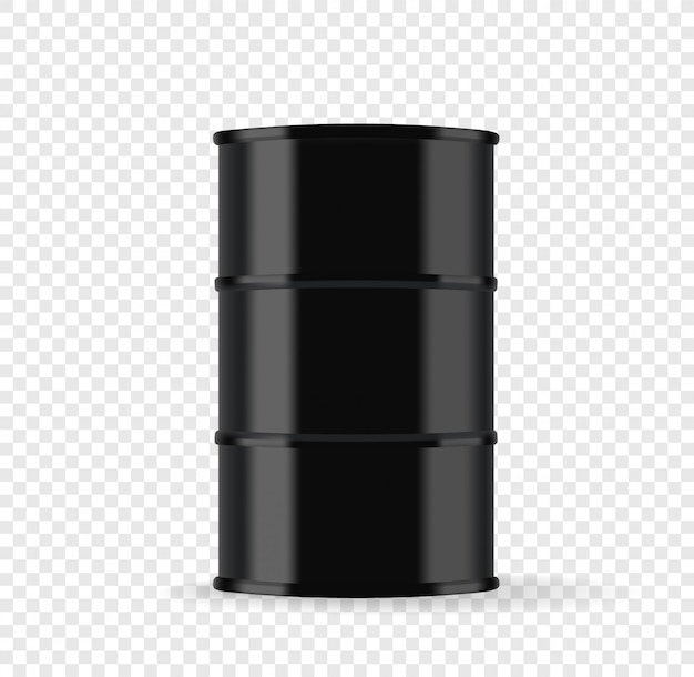 Barril de metal preto com ilustração vetorial de óleo isolada em fundo transparente