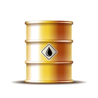 Barril de óleo de metal dourado com gota de óleo preto