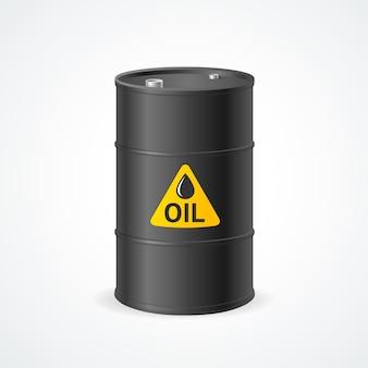 Barril de óleo de metal preto com etiqueta.