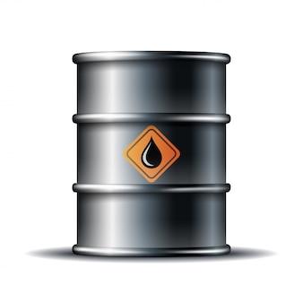 Barril de óleo de metal preto com gota de óleo preto