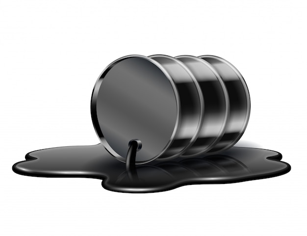 Barril de óleo preto está deitado na poça derramada de petróleo bruto. isolado
