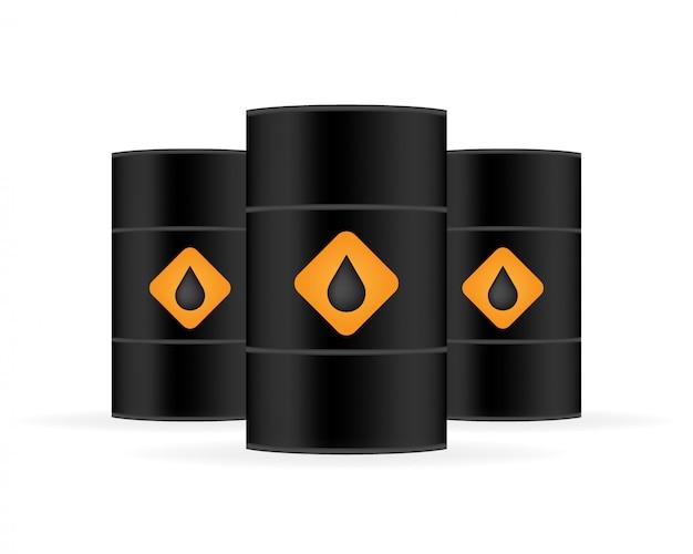 Barril de óleo preto realista em branco.