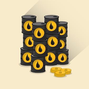 Barril de petróleo com imagem de ícones relacionados de petróleo