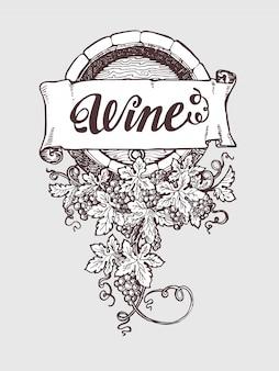 Barril de vetor vintage vinho e vinificação
