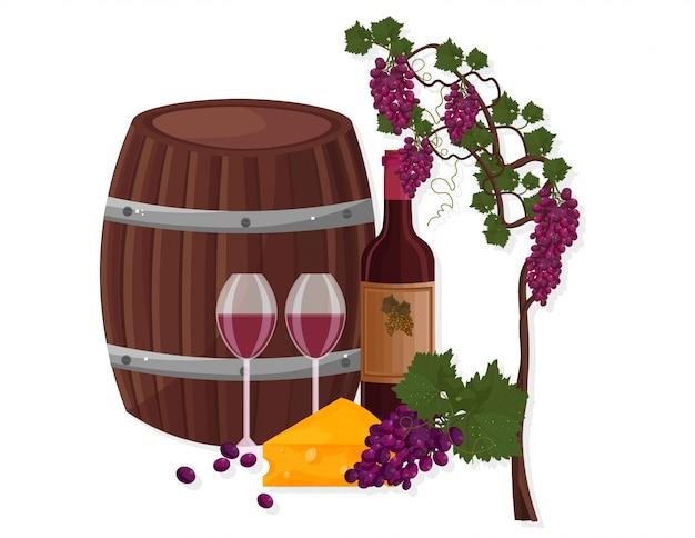 Barril de vinho e uva videira