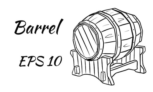 Barril de vinho ou cerveja. ilustração vetorial isolado em um fundo branco.