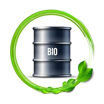 Barril preto de biocombustível com a palavra bio e folhas verdes sobre fundo branco, ambiente conceitual. .