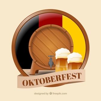 Barril realista e canecas de cerveja com bandeira alemã