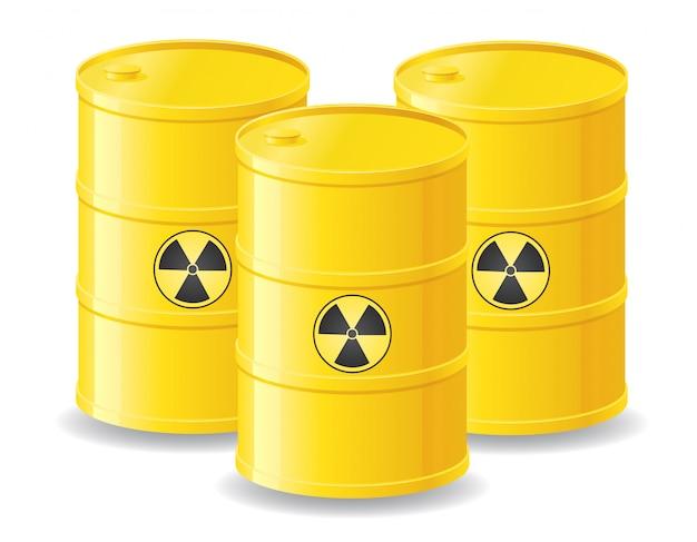 Barris amarelos de lixo radioativo