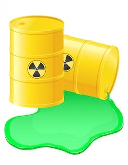 Barris amarelos derramado lixo radioativo