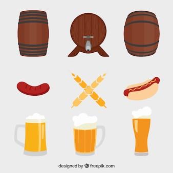 Barris, canecas de cerveja e salsichas