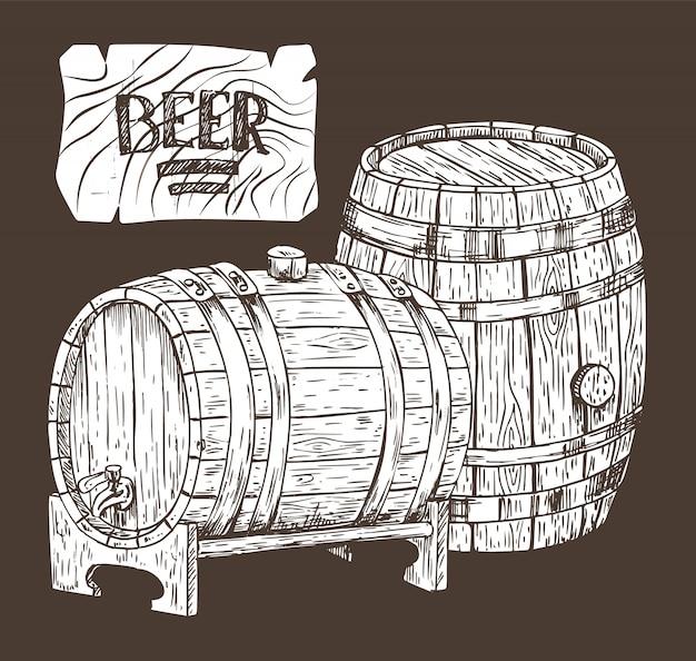 Barris de cerveja isolados na arte gráfica de pano de fundo preto