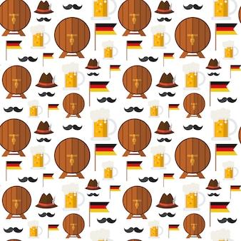 Barris de cerveja sem costura padrão e canecas para tema festival oktoberfest