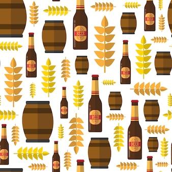 Barris de cerveja sem costura padrão e garrafas para tema festival oktoberfest