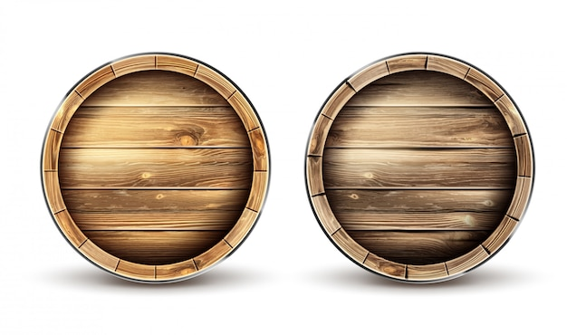 Barris de madeira para vista superior de vinho, cerveja ou uísque
