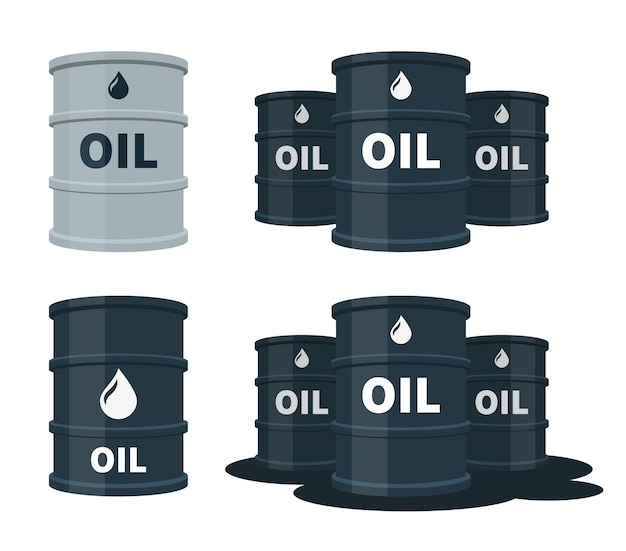 Barris de óleo com ilustração de combustível.