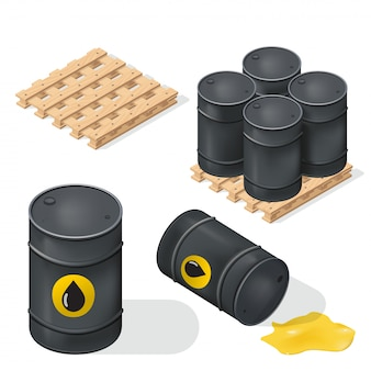 Barris de óleo isométrico